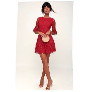 BB Dakota Scarlet Red In The Moment Lace Dress - 6
